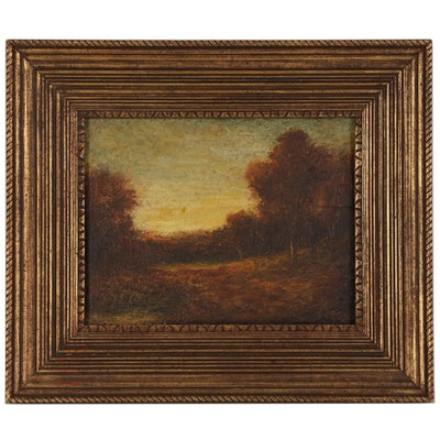 Hudson Mindell Kitchell Dusk Landscape Oil Painting, Early 20th Century