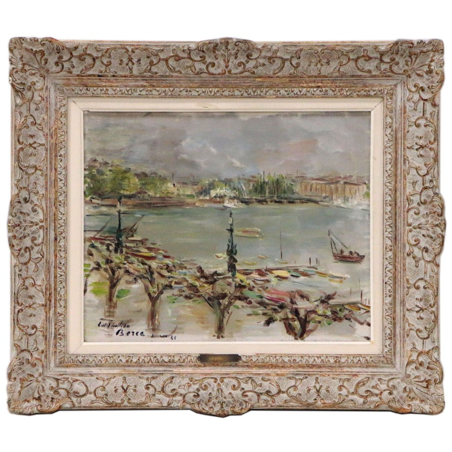 Dimitri Berea Harbor Landscape Oil Painting, Late 20th Century