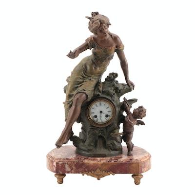 """French Spelter Sculptural Mantel Clock after August Moreau """"Sous Les Roseaux"""""""