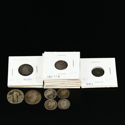 Nineteen American Silver Coins, Late 19th early 20th Century