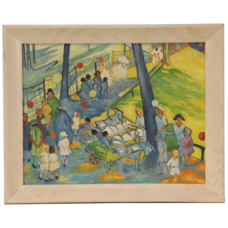 "Oil Painting after Gertrude Fiske ""Goat Carts"", Mid-Late 20th Century"