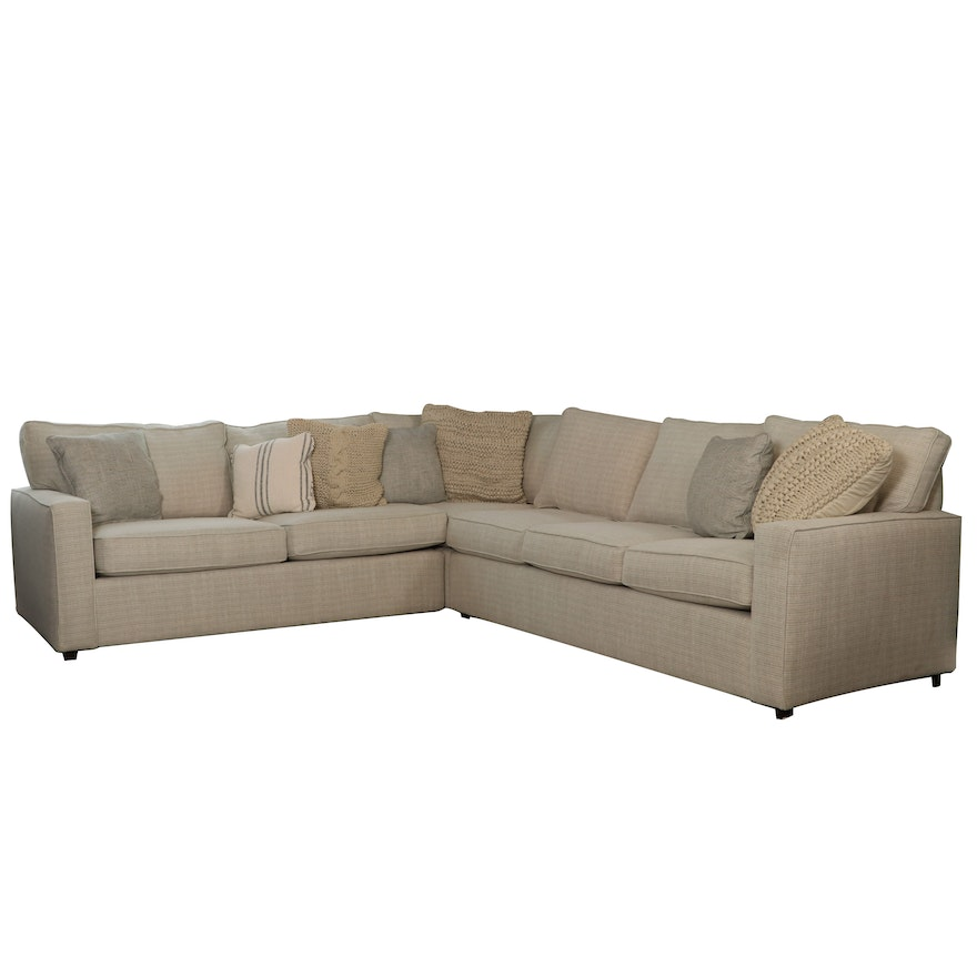 Rowe Furniture Beige Upholstered Sectional Sofa with Accent Pillows