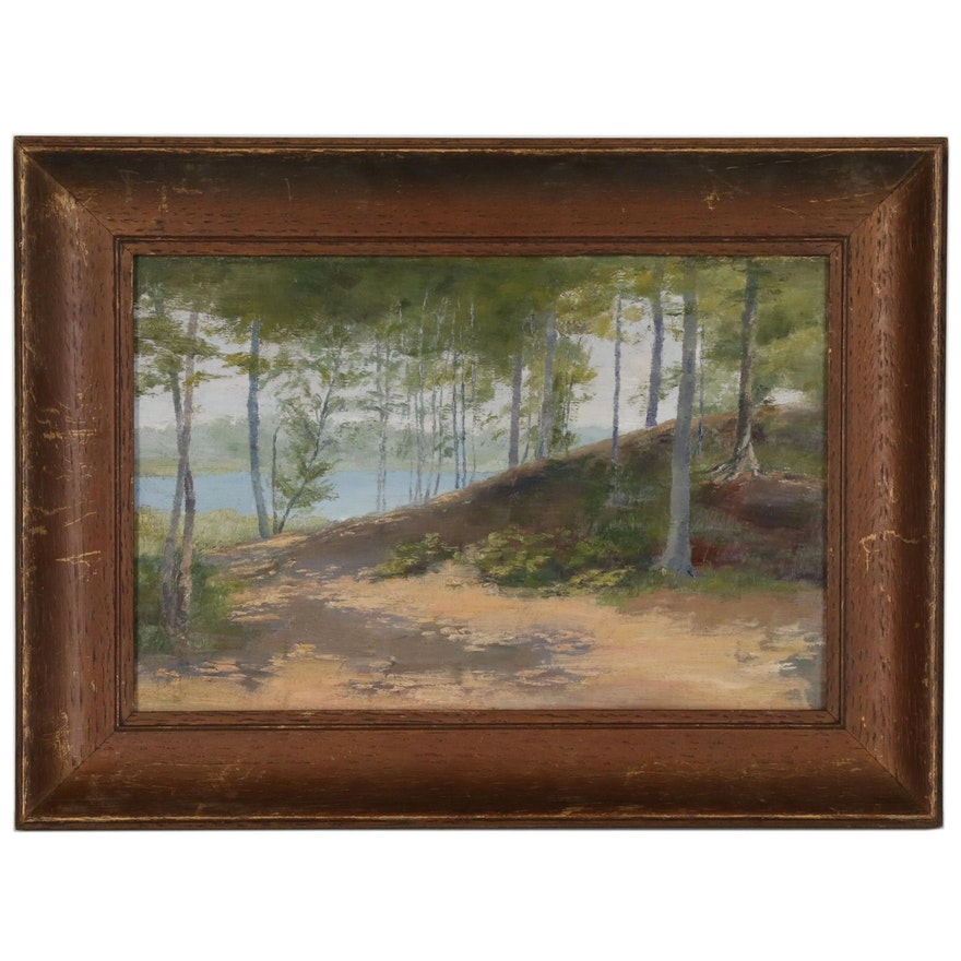 Wooded Landscape with Lake Oil Painting, Mid to Late 20th Century