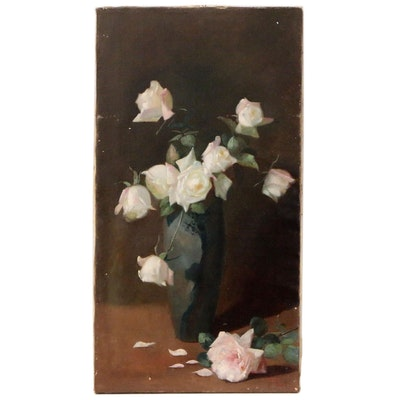 Frank Fenetty Floral Still Life Oil Painting of Roses in Vase