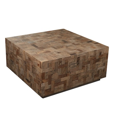 Uttermost Mosaic Wood Cube Coffee Table, Contemporary