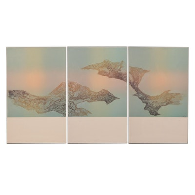 Abstract Aquatint Etching Triptych