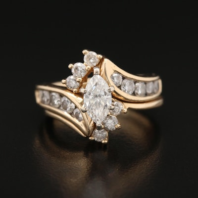 14K 1.93 CTW Diamond Interlocking Bypass Ring Set