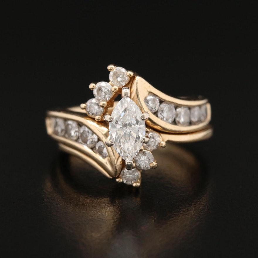 14K 1.93 CTW Diamond Interlocking Bypass Ring Set