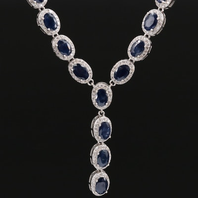 Sterling Sapphire and Cubic Zirconia Y Necklace
