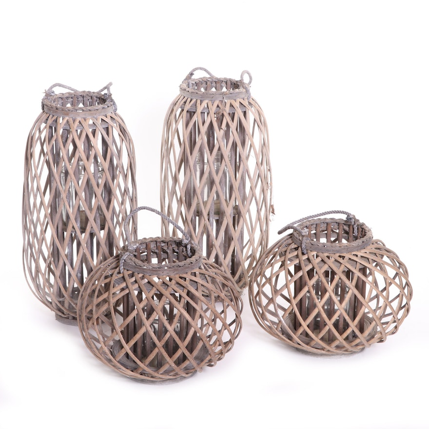 Four Woven Straw and Rope Lantern Candle Holders