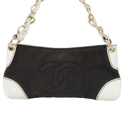 Chanel CC Chain Strap Baguette in Canvas and White Leather