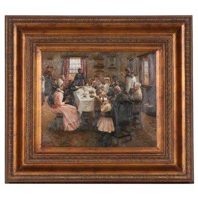 """Oil Painting after Stanhope Forbes """"To the Health of the Bride"""""""