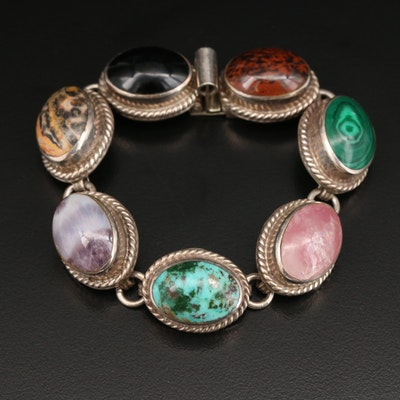 Mexican Sterling Bracelet with Agate, Jasper and Rose Quartz