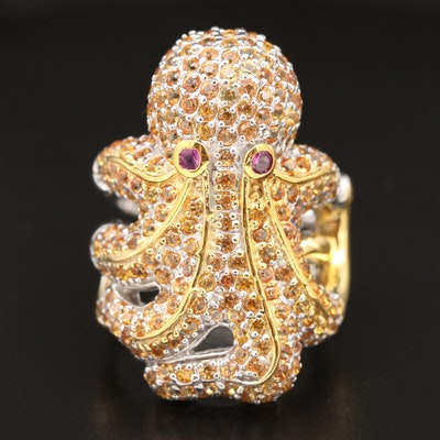 Sterling Silver Sapphire and Rhodolite Cephalopod Ring