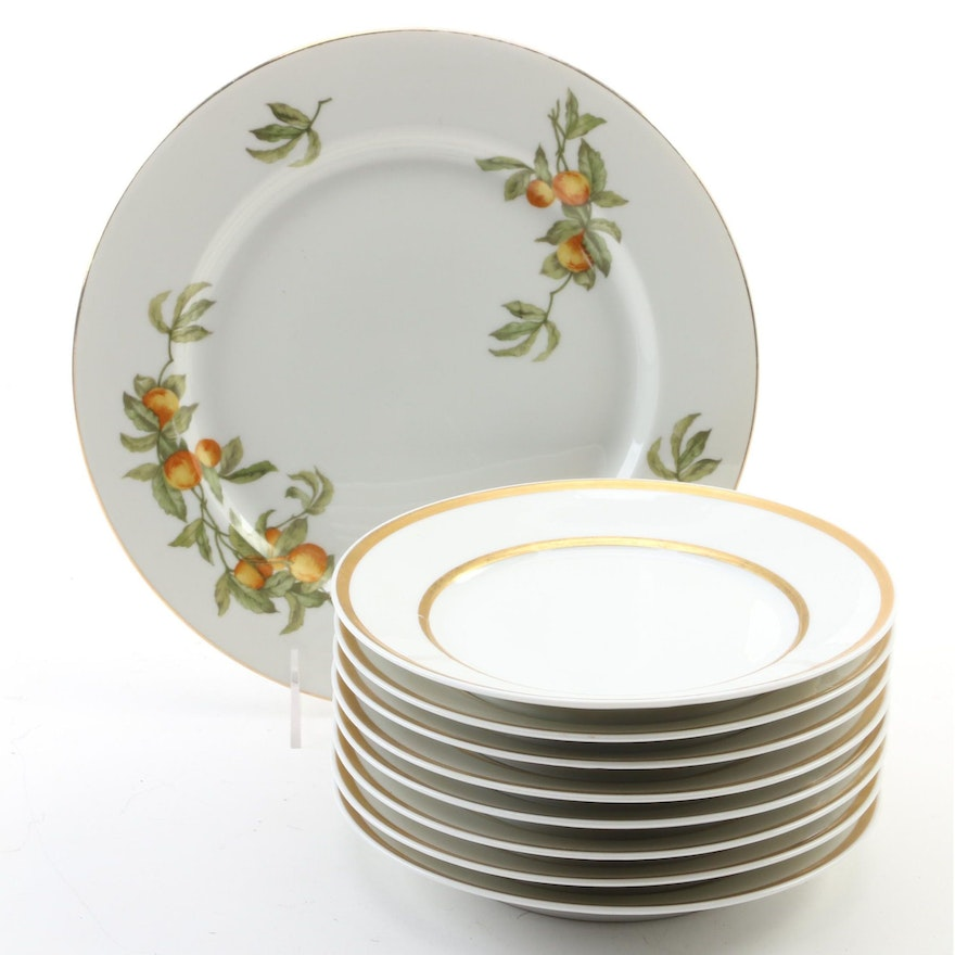 Raynaud & Co. Porcelain Dinner Plate with Other Limoges Porcelain Plates