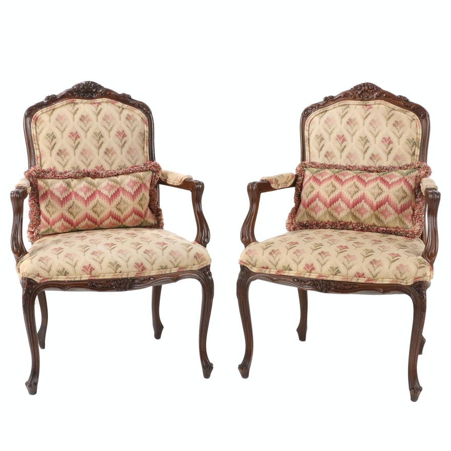 Pair Louis XV Style Upholstered Carved Walnut Fauteuils, Late 20th Century
