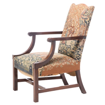 Federal Style Mahogany and Needlepoint Lolling Chair, 20th Century