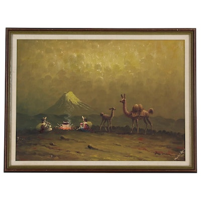Hector Moncayo Oil Painting of South American Camp Scene