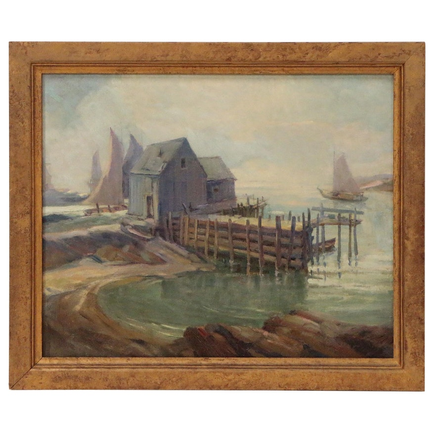 Harbor Scene Oil Painting, Early 20th Century