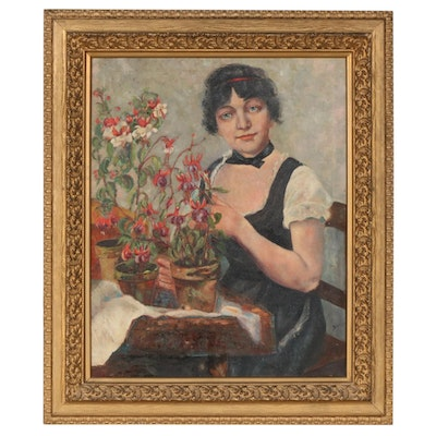 Suzanne Bove Oil Portrait of Woman with Flowers Painting