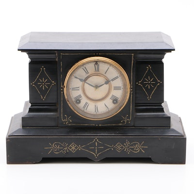 Ansonia Victorian Style Cast Iron Mantel Clock, Late 19th/Early 20th Century