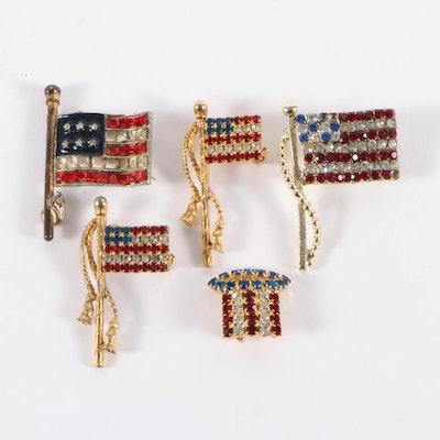 Rhinestone American Flag Pins, 20th Century