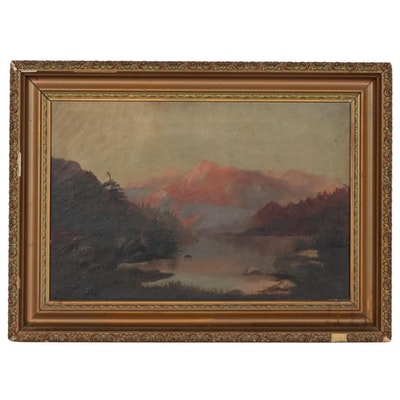 Mountain Landscape Oil Painting, 19th Century