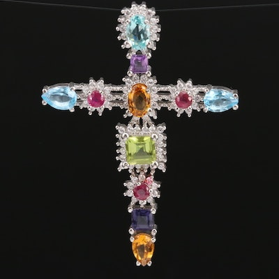 Sterling Silver Cross Pendant with Peridot, Citrine and Ruby