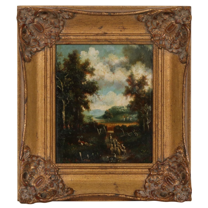 Pastoral Oil Painting in the Manner of John Constable, 19th Century