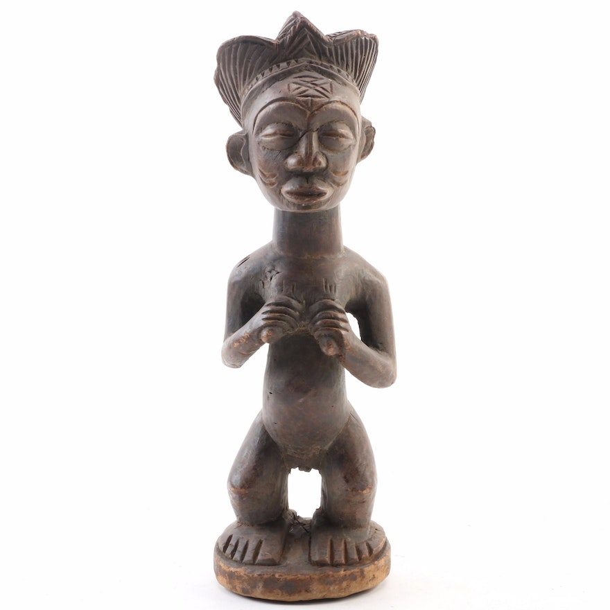 Luba Style Carved Wood Maternity Figure, 20th Century