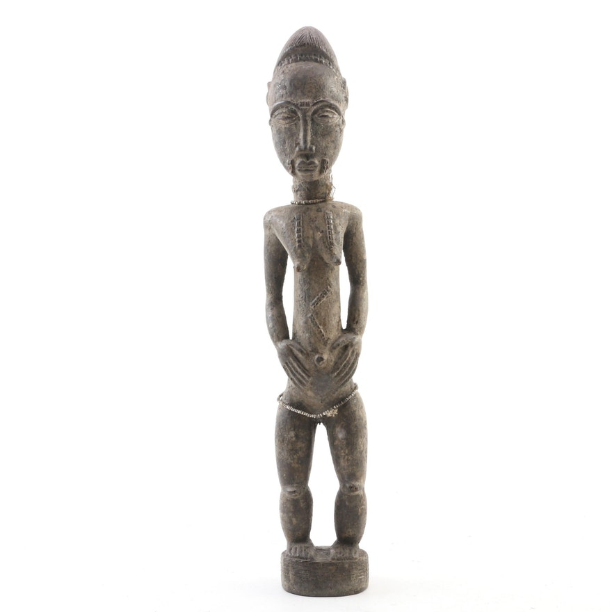 Baule Wood Carved Figure with Beaded Embellishments, 20th Century