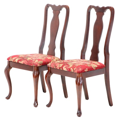 Pair of Queen Anne Style Mahogany-Stained Side Chairs
