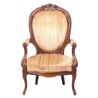 Victorian Rococo Revival Carved Walnut Armchair, Third Quarter 19th Century