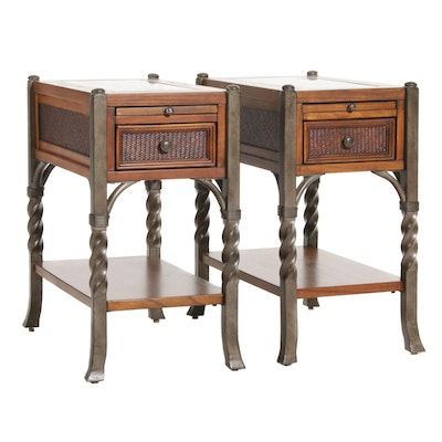 Mixed Woods, Stone and Metal Storage End Tables with Pullout Trays, Late 20th C