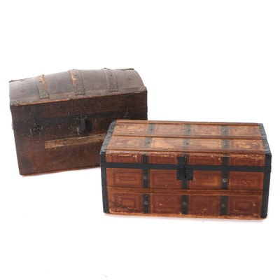 Camel Back and Flat Top Wooden Travel Trunks