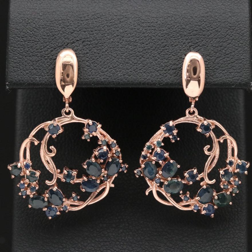 Sterling Silver Sapphire Scroll Dangle Earrings