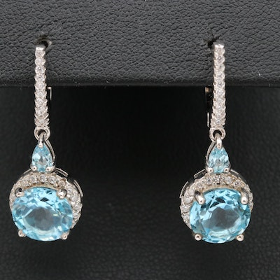 Sterling Swiss Blue Topaz and Cubic Zirconia Dangle Earrings