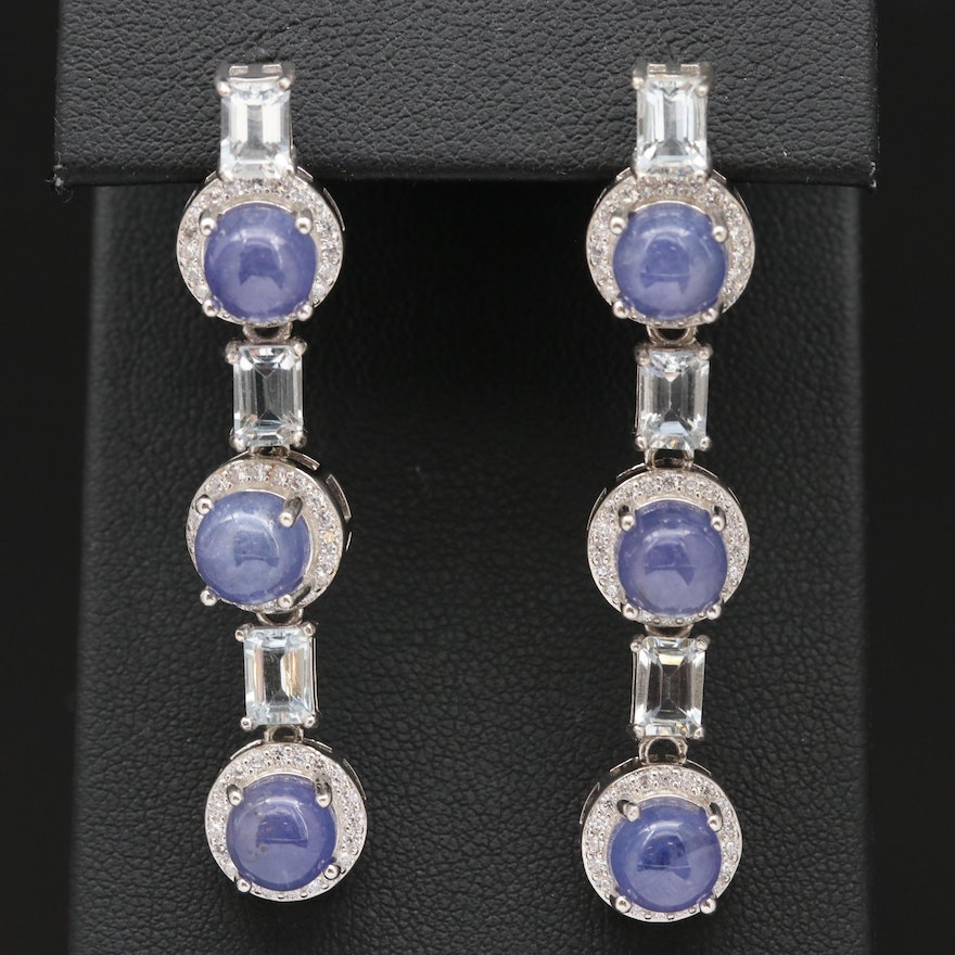 Sterling Silver Tanzanite, Aquamarine and Cubic Zirconia Dangle Earrings