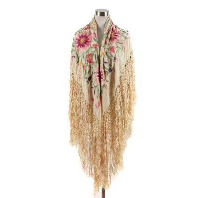 Floral Embroidered Cream Silk Piano Shawl, Early 20th Century