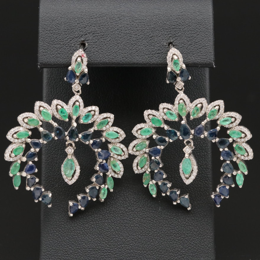 Sterling Silver Emerald, Sapphire and Cubic Zirconia Dangle Earrings