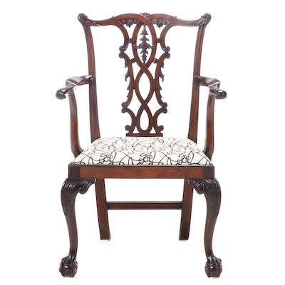 George III Style Mahogany Armchair, 20th Century