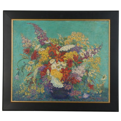 Mary E. Marshall Floral Still Life Oil Painting, Early 20th Century