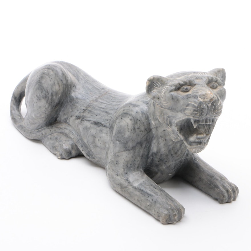 Carved Soapstone Sculpture of  Big Cat