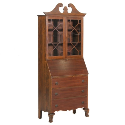 Chippendale Style Mixed Woods Secretary Bookcase, Mid-20th Century