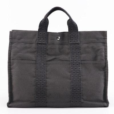 Hermès Herline MM Canvas Tote in Grey and Black