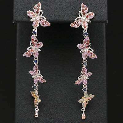 Sterling Silver Sapphire and Garnet Butterfly Dangle Earrings