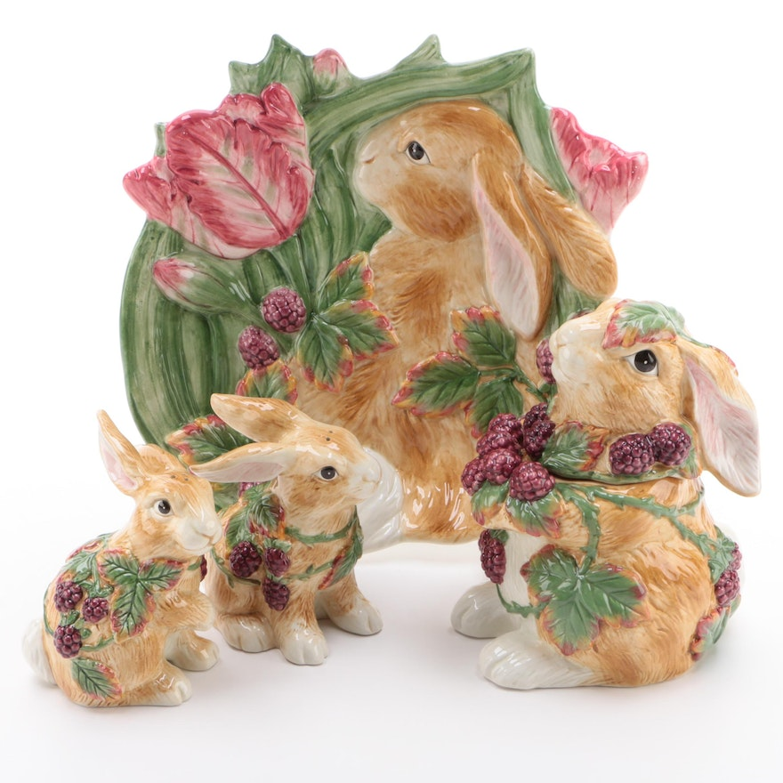 "Fitz and Floyd ""Blackberry Rabbit"" Candy Jar, Salt and Pepper, Canape Plate"
