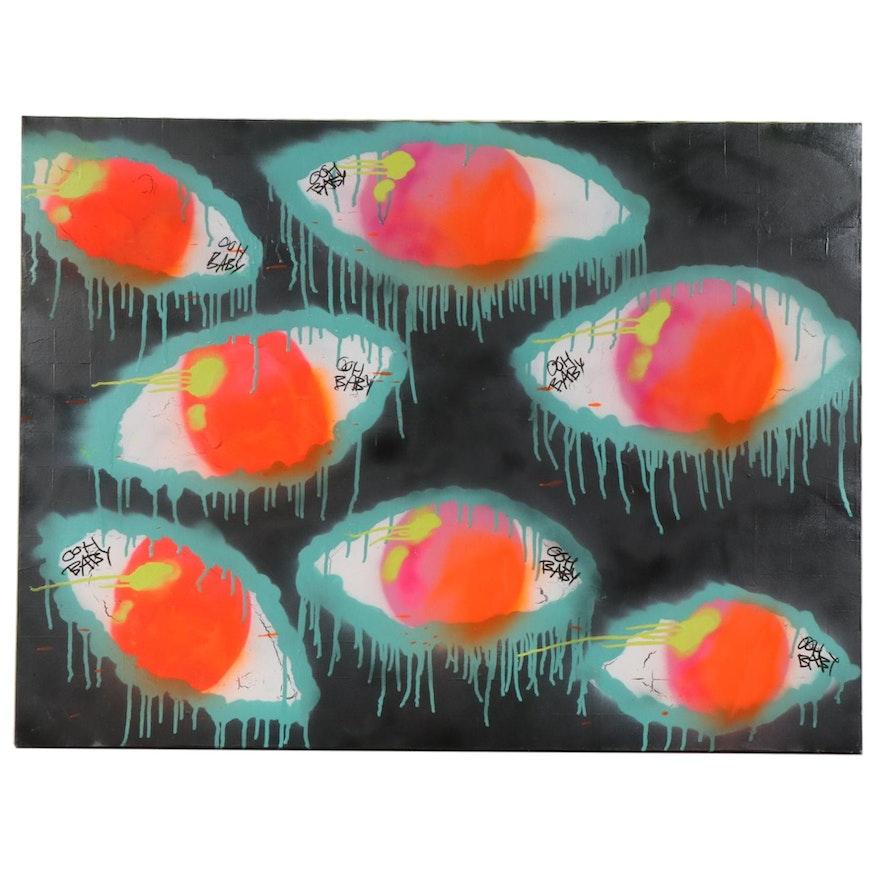 O.O.H.B.A.B.Y. Street Art Acrylic Painting of Eyes, Circa 2010