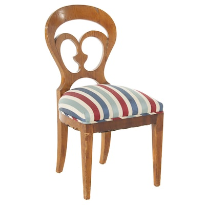 Contemporary Balloon Back Style Upholstered Side Chair, Mid to Late 20th Century