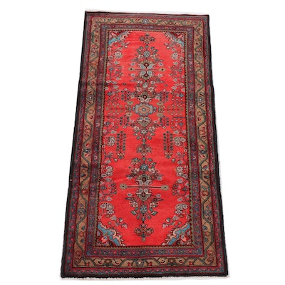 3'8 x 8'1 Hand-Knotted Persian Yazd Wool Long Rug
